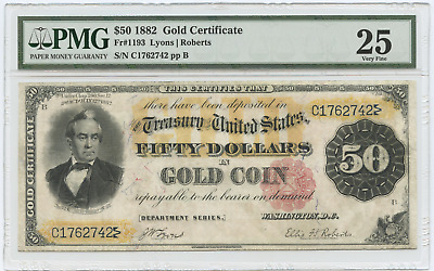1882 $50 Large Size Gold Certificate VF25 PMG FR#1193