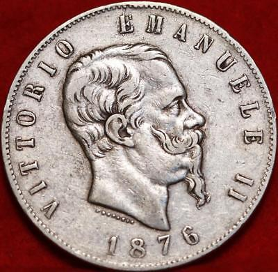 1876 Italy 5 Lire Silver Foreign Coin Free S/H