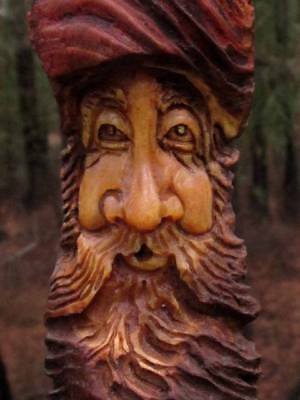 Wood Spirit Tree Hobbit Carving Log Home Gnome Cabin Elf Forest Face Wall Art