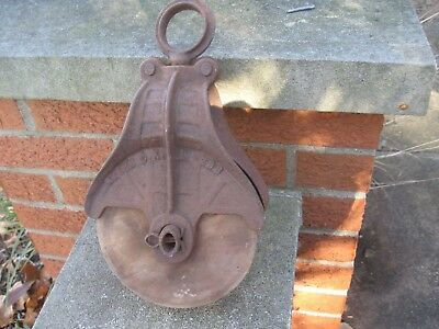 Antique Cast Iron & Wood Myers Barn Pulley ~ Vintage Farm Tool Primitive Decor