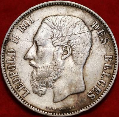 1875 Belgium 5 Francs Silver Foreign Coin Free S/H