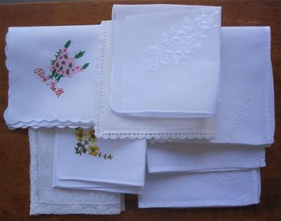 Eight Vintage Embroidered/Crochet/Lace HANKERCHIEFS