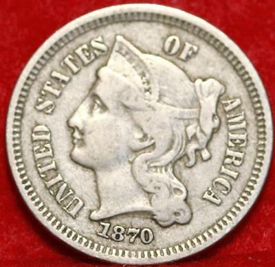 1870 Philadelphia Mint Nickel Three Cent Coin Free Shipping