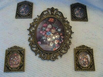 Vintage Ornate Metal Picture Frames Italy Lot of 5 Oval & Square