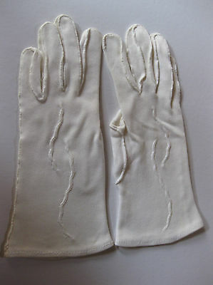 VINTAGE SUEDETTE GLOVES, Cream, wrist length, no size
