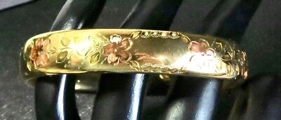 Vintage Antique Art Deco 2 Tone 12K GF Gold Filled Floral By HFB Bangle Bracelet