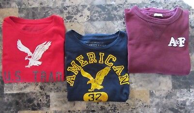 Mens Size Medium American Eagle A & F Lot of 3 Long Sleeve Graphic T-Shirts