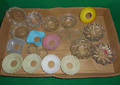 BOX LOT Glass Bobeches Oil Electric Lamp Light Candlesticks Crystal Color Satin