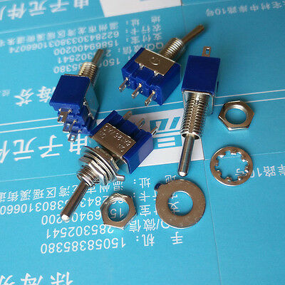 10pcs Mini MTS-102 3-Pin SPDT ON-ON 6A 125VAC Toggle Switches^Pop~