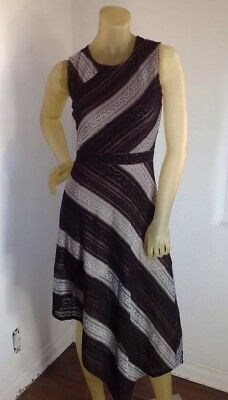 22cd7c1da074 BCBG MAX AZRIA Arianna Striped High-Low Dress Tan Navy XS EUC CG ...