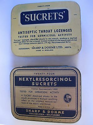 2 x VINTAGE TINS – Medicinal Throat Lozenges SUCRETS (USA) and SUCRETS (UK)
