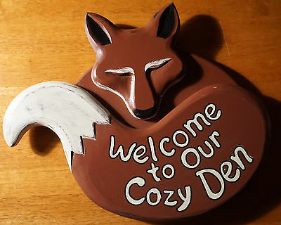 WELCOME TO OUR COZY DEN FOX Country Primitive Style Wood Home Decor Sign NEW