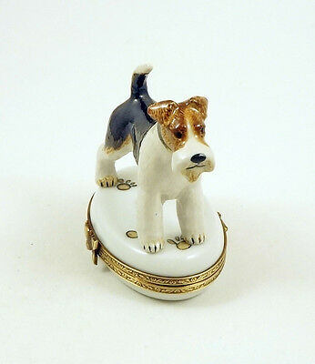 NEW FRENCH LIMOGES TRINKET BOX FOX TERRIER DOG Puppy ON DOG PAW PRINTS