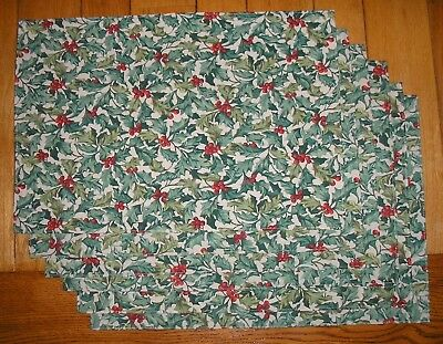 Set of 6 Longaberger Holly Pattern Reversible Placemats