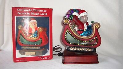 Old World Christmas Light - Santa with Sleigh 10th Anniversary Edition 1994