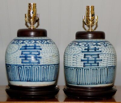 Pair Chinese GINGER JAR LAMPS DOUBLE HAPPINESS Blue & White CANTON Qing