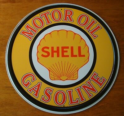 LARGE SHELL MOTOR OIL & GASOLINE SIGN Car Gas Station Pump Automobile Decor NEW