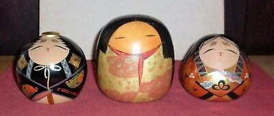 Vintage Japanese Lacquer Timber Figures Good Condition