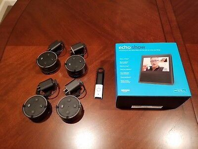 New sealed Amazon Echo Show with 4 Echo Dots with mounts &Dash Wand With Alexa
