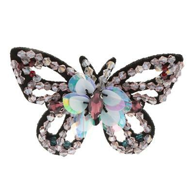 Butterfly Crystal Sequins Bead Patch Embroidery Applique Embellishment Pink
