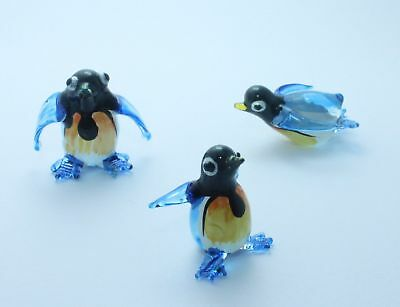 Set Penguin Handcrafted MINIATURE HAND BLOWN GLASS FIGURINE Collection New