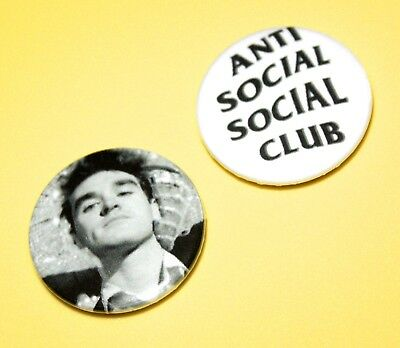 X2 Morrissey The Smiths Anti Social Club Punk Rock Pop Button Pin Badges