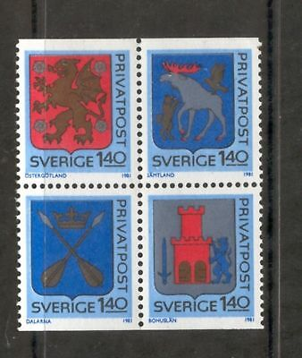 Sweden  1981  Arms block of 4, MNH.