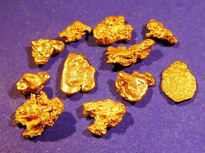10 Sparkling Clean Australian Gold Nuggets ( 2.38 grams ). + FREE GIFT.