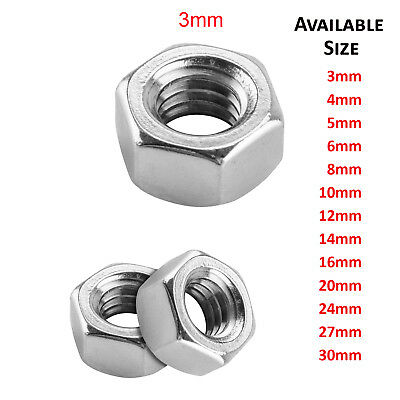 3mm M3 A2 STAINLESS STEEL METRIC HEX FULL NUTS HEXAGON NUT DIN 934