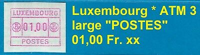 Luxembourg ATM 3 * grosses / large POSTES *  01,00 Fr. MNH * FRAMA * 电子邮票 * CVP