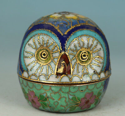 Chinese Old Cloisonne Handmade Painting Owl Collect Statue Jewel Snuff Box