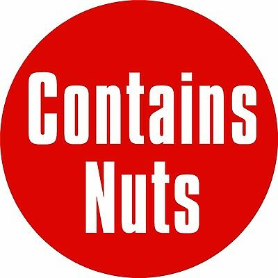 Contains Nuts Labels Printed Self Adhesive Vinyl Stickers x108