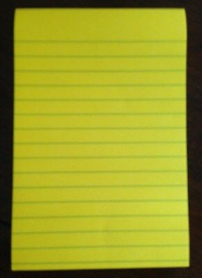 "Post-It LINED Yellow SUPER STICKY 4 x 6"" 90 Sheet note memo pad Office School"