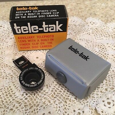 Kodak Tele-tak Auxiliary Telephoto Lens With Built In Finder Clip In Box