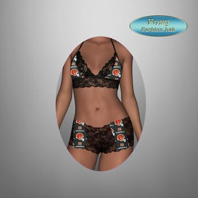 Cincinnati Bengals scallop lace top - lace boy shorts lingerie