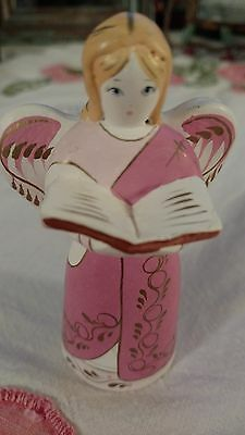 Handpainted MEXICO Pottery Pink and White CHOIR ANGEL