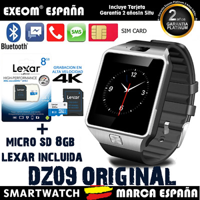 Reloj Inteligente SmartWatch Bluetooth para Android IOS + Micro SD 8GB Lexar