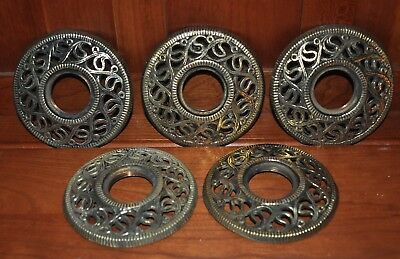 FIVE (5) ANTIQUE CAST Solid Brass Pierced relief Bobeches threaded early style !