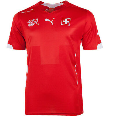 Puma Switzerland Suisse Home Replica Mens Red Football Shirt (744378 01 R9C)