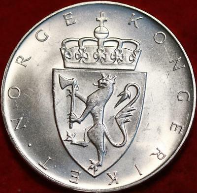 Uncirculated 1964 Norway 10 Kroner Silver Foreign Coin Free S/H