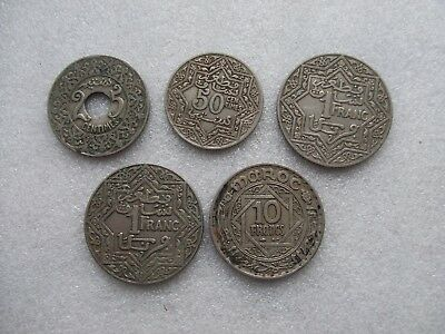 Lot of 5 Morocco coins 25 & 50 centimes 1 Franc with mintmark & 10 Francs