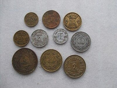 Lot of 10 Morocco Moroccan coins 50 Centimes & 1 2 5 10 20 & 50 Francs