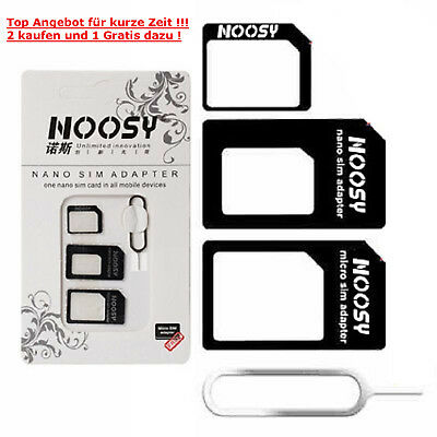 4X Noosy Nano Sim Karten Adapter iPhone Micro Sim Adapter Htc Samsung Nokia LG