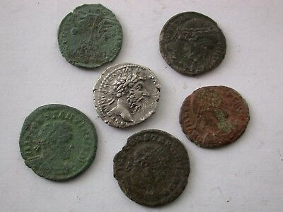 Metal Detecting Finds  Roman Bronze Silver Coins'