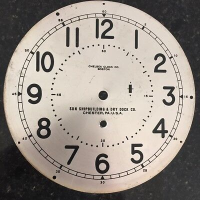 Chelsea Clock Co. Sun Shipbuilding Type B 12 Hour 8.5 Inch Silvered Brass Dial