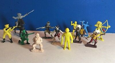 Mixed lot of vintage playset figures, baseball catcher by Ajax