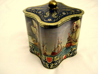 Vintage Advertising Tea Tin Sailing Ships Square Riggers England Beautiful