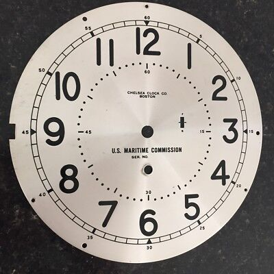Chelsea Clock Co. Silvered Brass 8.5 Inch U.S. MARITIME COMMISSION Dial
