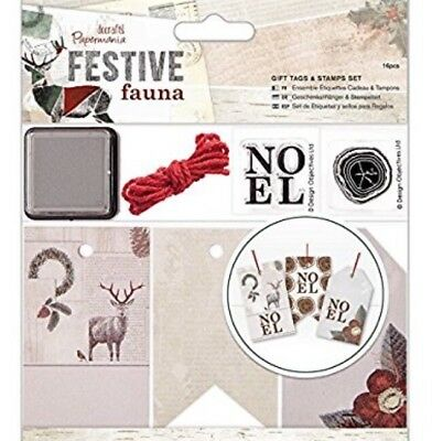 Papermania Docrafts Festive Fauna Gift Tags and Stamps Set