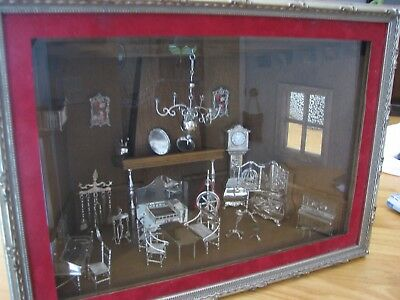 RARE VINTAGE DUTCH .833 SILVER MINIATURE DOLL HOUSE  furniture etc. and  box